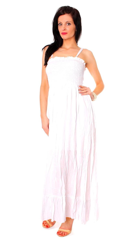 Damen lang Baumwoll Bandeau Sommer Strand Kleid mit ...