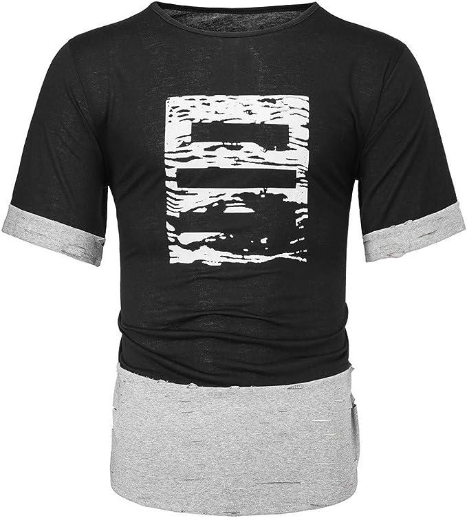 Waotier Camiseta De Manga Corta para Hombre Camiseta De Costura ...