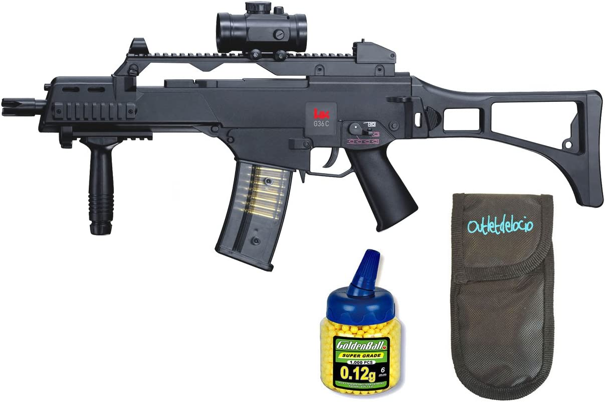 Outletdelocio. Pack Rifle Airsoft HK G36C AEG Electrico. Calibre 6mm. + Funda Portabalines + Biberon 1000 Bolas. 23054/21993