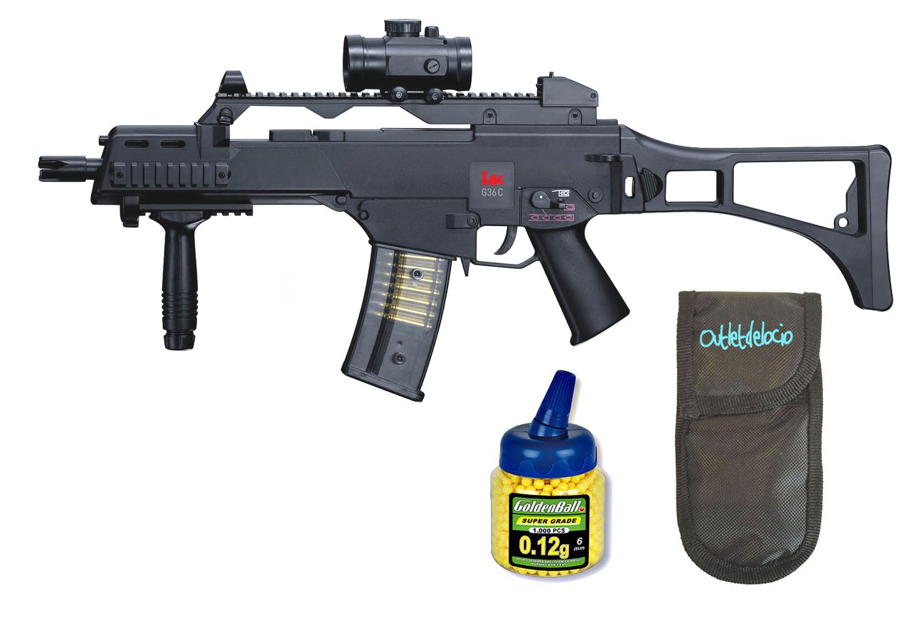 Outletdelocio. Pack Rifle Airsoft HK G36C AEG Electrico. Calibre 6mm. + Funda Portabalines + Biberon 1000 Bolas. 23054/21993 Umarex