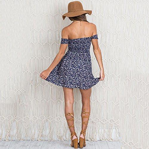 Banchetto blu Festa Eleganti Floreale Partito Senza 386 Fasciante Sexy Lungo Abito PIN da Sera Donna LATH Vestito Maniche 4qB1cZ