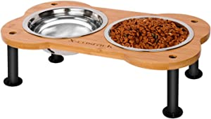 Elevated Dog Bowls,Unique Bone Shape Bamboo Raised Pet Bowls&Cats Dogs Food and Water Stand Pet Feeder with 2 304 Stainless Steel Bowls,Perfect for Pets Puppy Small Dogs Cats(Patent Pending)