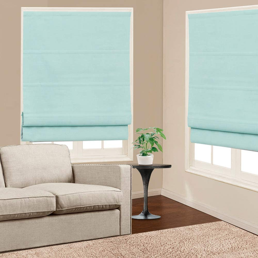 Roman Shades Window Blinds, Macarone Green Premium Blackout Window Roman Shades, Custom Washable Fabric Solid Roman Shades for Windows, Doors, French Doors, Kitchen Windows