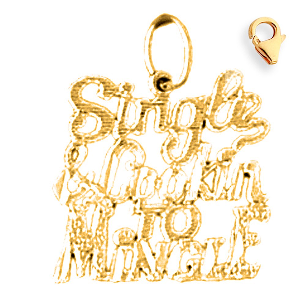 Jewels Obsession 19mm 14K Yellow Gold Single Lookin To Mingle Saying Charm