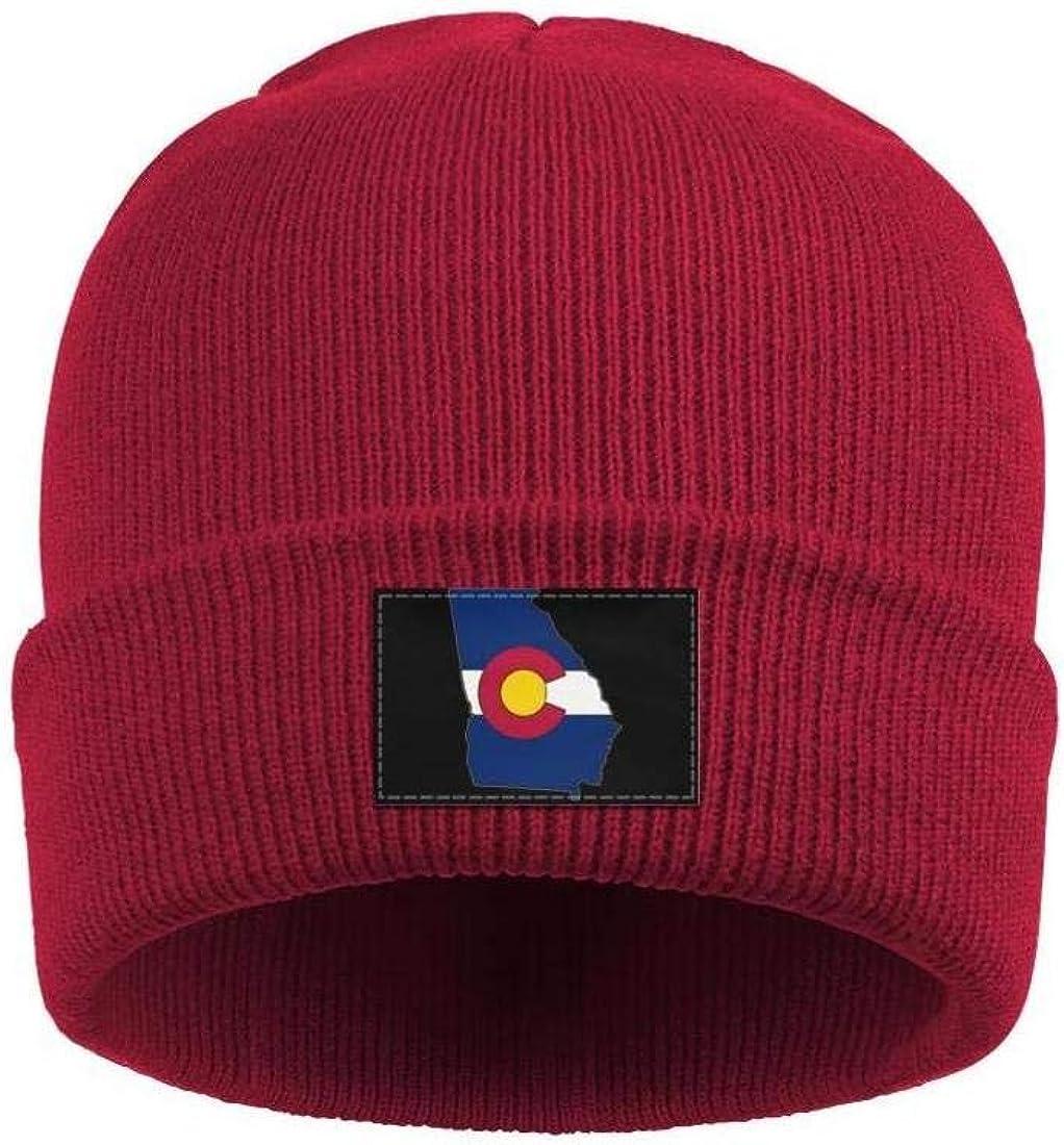 Mens Slouchy Beanie Hat Fine Knit Hats State of Georgia Colorado Flag Warm Cap