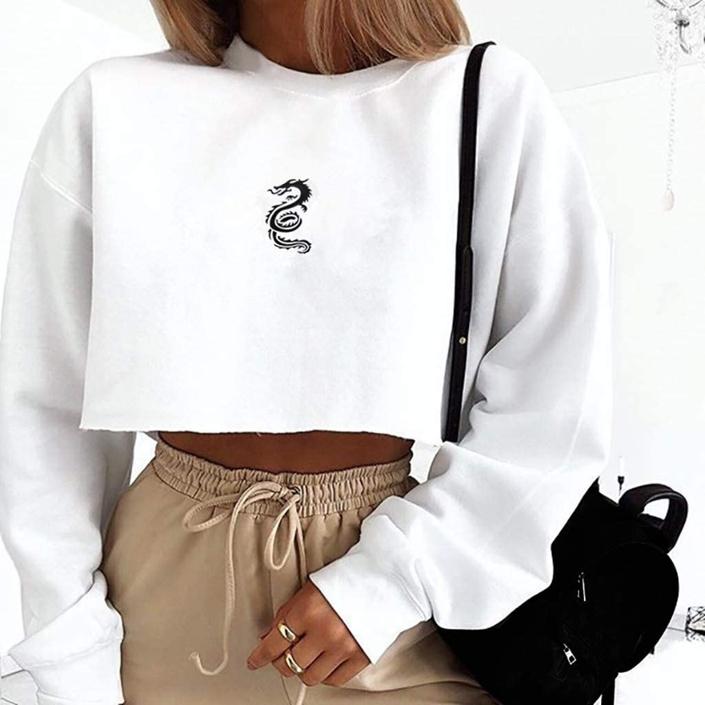 Boxinay Womens Casual Long Sleeve Dragon Totem Print Round Neck Crop Top Sweatshirt Pullover Shirts Blouse
