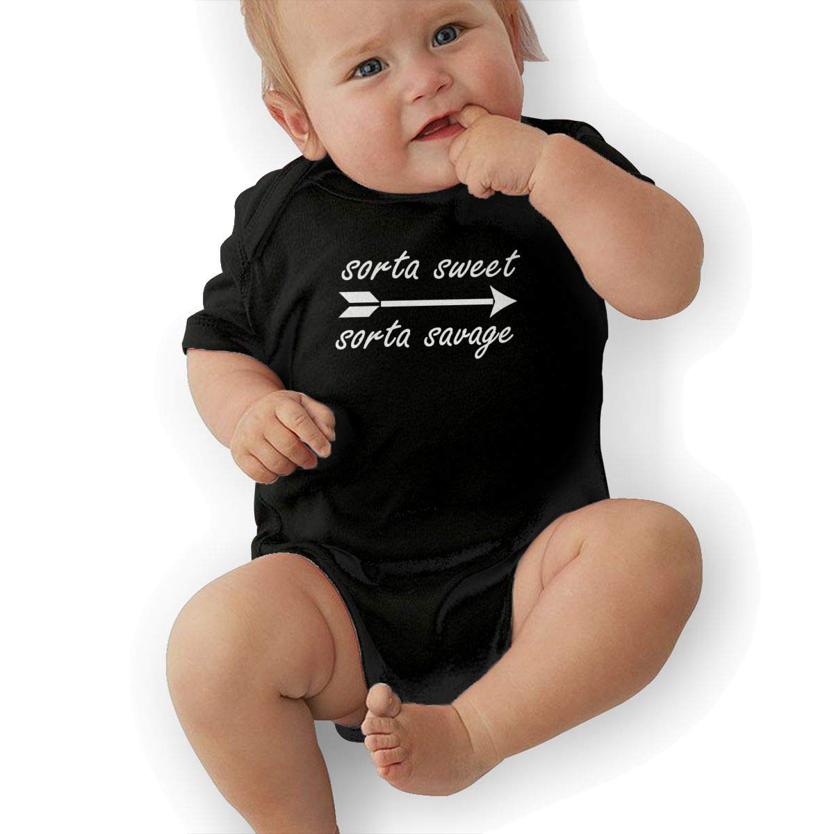 Bodysuits Clothes Onesies Jumpsuits Outfits Black HappyLifea Sorta Sweet Sorta Savage Logo Baby Pajamas