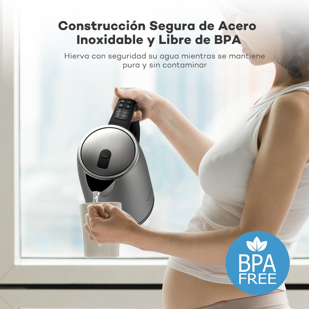 Hervidor de Agua Eléctrico 1.7L VAVA 2000W (Doble Pared Anti-quemo, Libre de BPA, Control Preciso de Temperatura, Protección contra Hervido Seco, ...