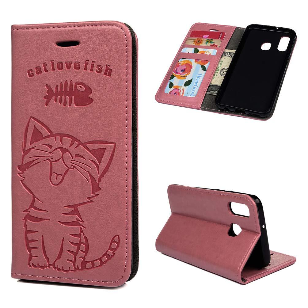 MLorras H/ülle f/ür Samsung Galaxy A40 Einfarbiger Flip PU Leder Handyh/ülle Klappbares Brieftasche Schutzh/ülle Stand Wallet Case Cover Tasche mit Karteneinschub Grau