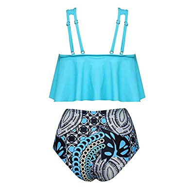 87ea46ee09a9e Image Unavailable. Image not available for. Color: Women's Strapless Marble  Print High Waisted Two Piece Bandeau Bikini Set ...