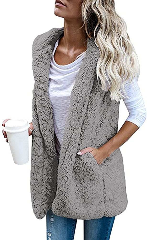 Womens Vests Outerwear Warm Faux Fur Casual Loose Hooded Jacket Coats Pockets Cardigans Parka Overcoats