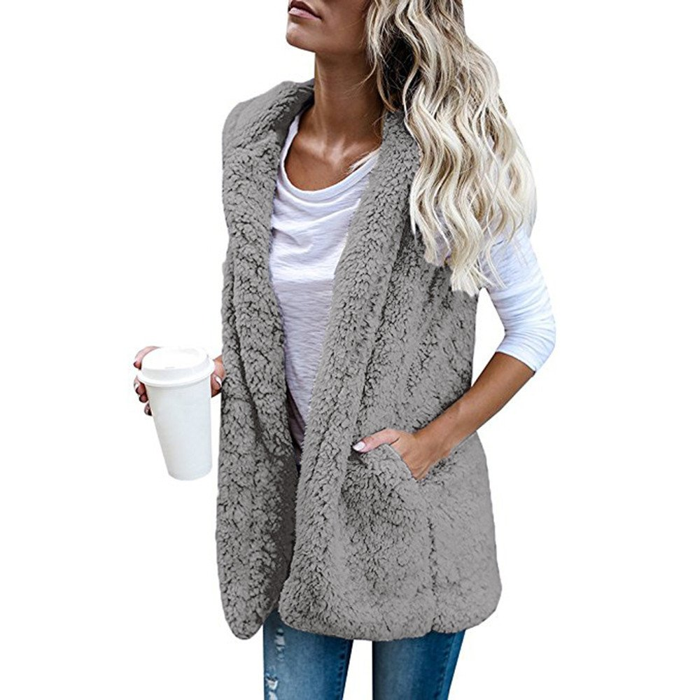 Rambling Women's Lightweight Fleece Shearling Sherpa Vest Warm Hooded Open Front Cardigan Jackets with Pockets