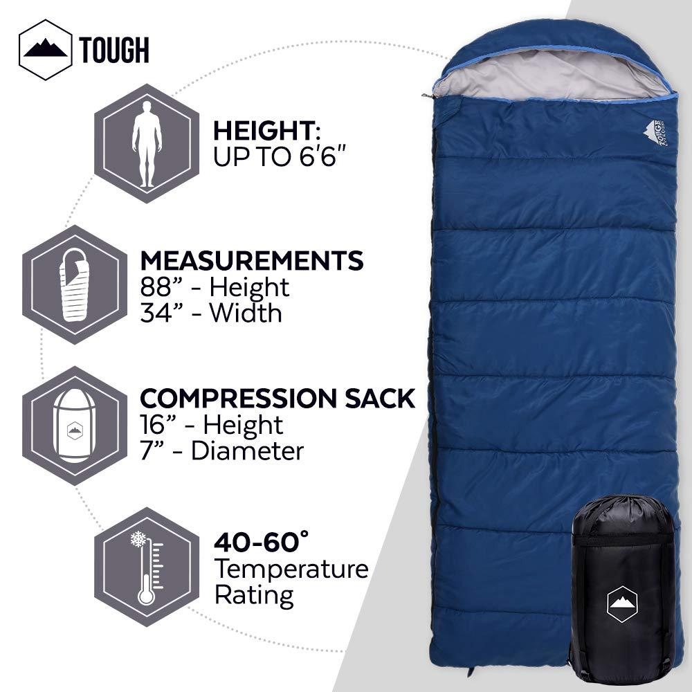 All Season XL con capucha Saco de dormir con bolsa de compresión - Perfecto para Camping, Trekking, senderismo. Rango de temperatura 32 - 60â ° F. para ...