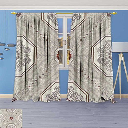 1956 Panel - SOCOMIMI 1956 Panel Set Digital Printed Window Curtains,Decorative Ceramic Tiles Patterns Texture Background in The Park Public for Bedroom Living Room Dining Room, 84W x 84L inch