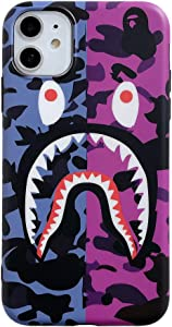 Fanke iPhone 11 Soft Case,Embossed Varnish Craft Top Sleek Feel Shiny Acrylic TPU Bumper Frame Cover for 6.1 iPhone 11,Street Fashion Basic Protective Case (Purple Pink Shark)