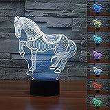 Threetoo 3D Animal Nightlights Horse Zebra Night Light Acrylic 3D LED USB 7 Color Change LED Table Lamp Xmas Toy Gift