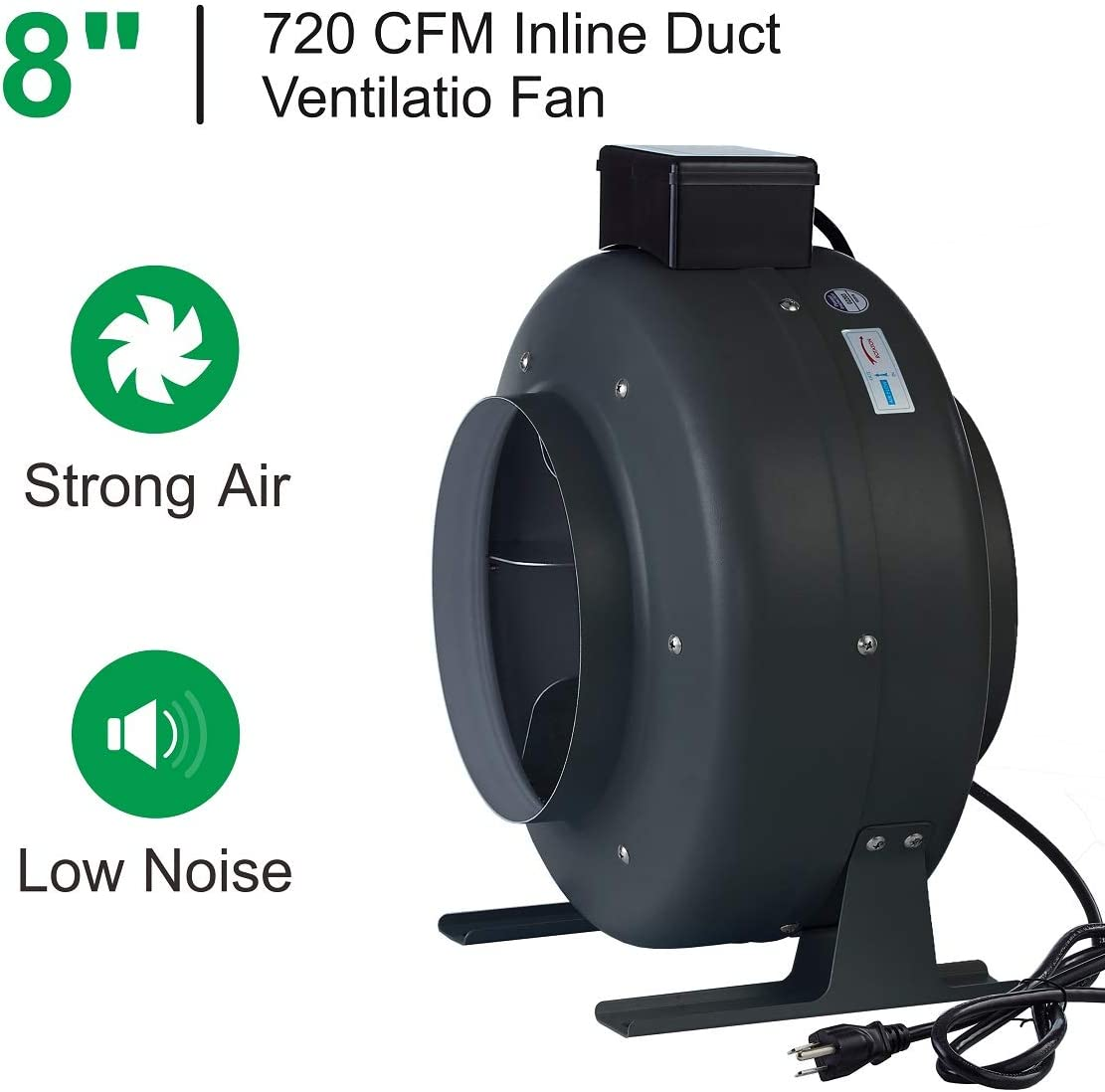 "TopoLite 8"" Inline Fan Carbon Air Filter Fan Ducting Combo"