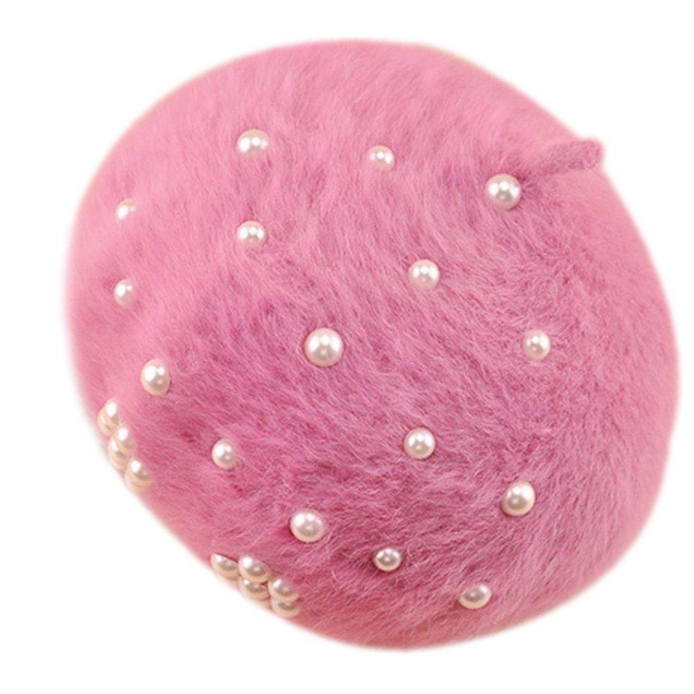 Gespout Winter Women Fashion Beret Cap Plush Weaving Warm Pearl Hat for Outdoor Shopping