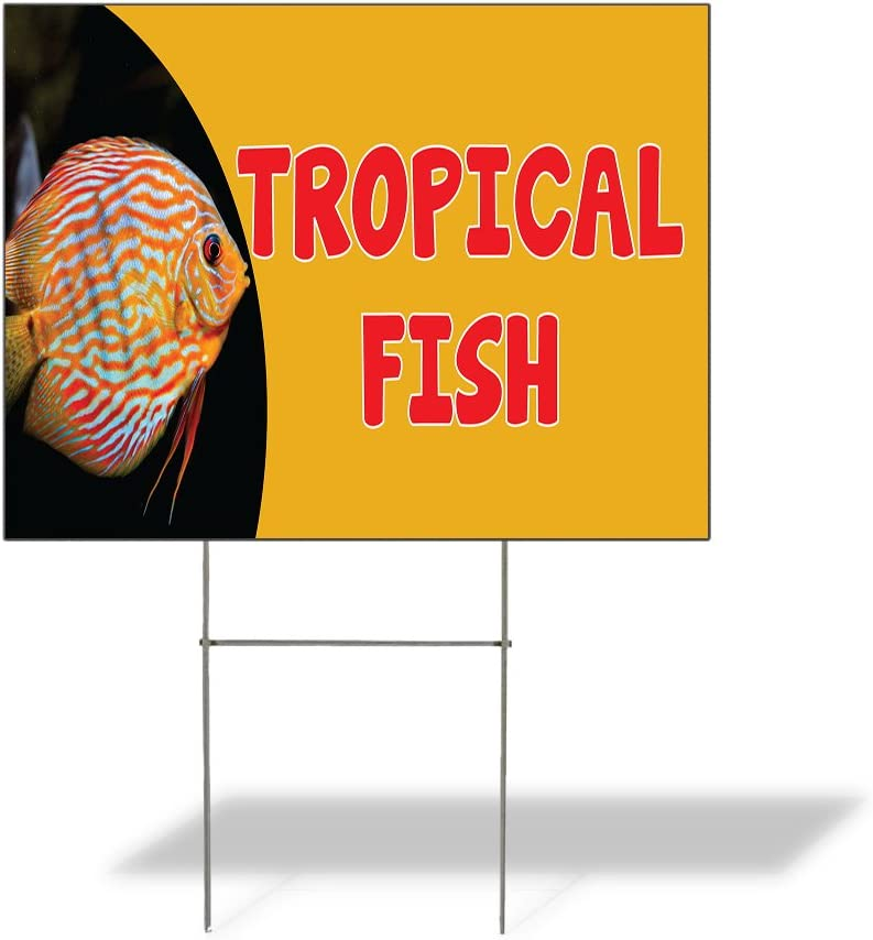 Fastasticdeals Weatherproof Yard Sign Tropical Fish Outdoor Advertising Printing C Yellow Lawn Garden Seafood Market Monger 24x18 Inches 1 Side Print