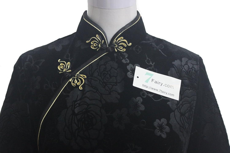 7Fairy Women's Black High Quality Chinese Evening Velvet Long Dress