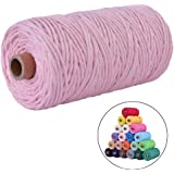 flipped 100% Natural Macrame Cotton Cord,3mm x109 Yard Twine String Cord Colored Cotton Rope Craft Cord for DIY Crafts Knitting Plant Hangers Christmas Wedding Décor, Light Pink, 3mm*109yards