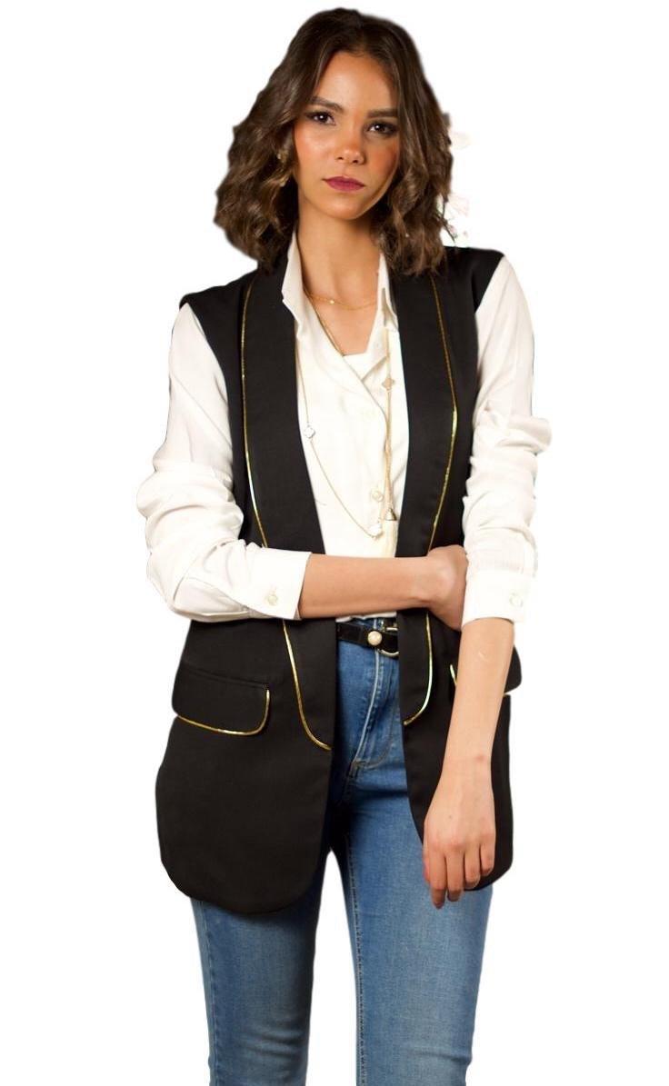 The Gallery Women's Gabardine Sleeveless Blazer Vest Black With Golden Lines, S