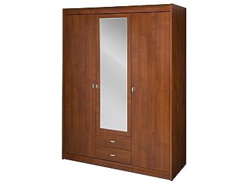 Dover Grande Marron 3 Portes Armoire avec Miroir avec Miroir de l ...