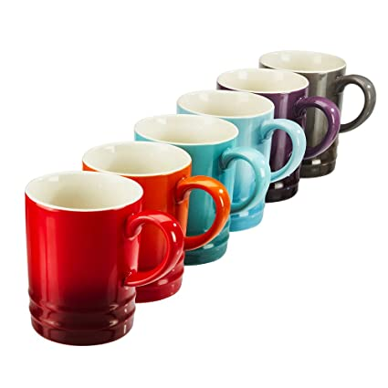 ceafe5f4ef6 Set of 6 Stoneware Rainbow Tea Mugs, Collection of Assorted Colourful  Espresso/Coffee Cups, 300ml by Cooks Professional: Amazon.co.uk: Kitchen &  Home