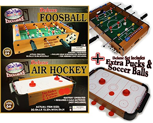 - Matty's Toy Stop Deluxe Wooden Mini Table Top Air Hockey (Extra Pucks) & Foosball (Soccer) (Extra Balls) Games Gift Set Bundle - 2 Pack