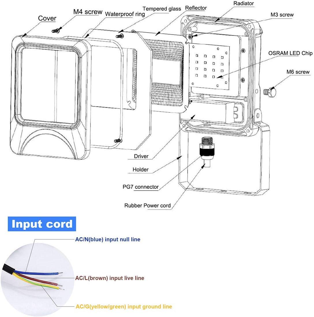 Foco Proyector LED 100W Focos LED de Exterior 3030 LED Chip 10000lm Super Bbrillant Focos LED Blanco Fr/ío 6000K Angulo Luminoso de 120 /° IP66 Impermeable Floodlight