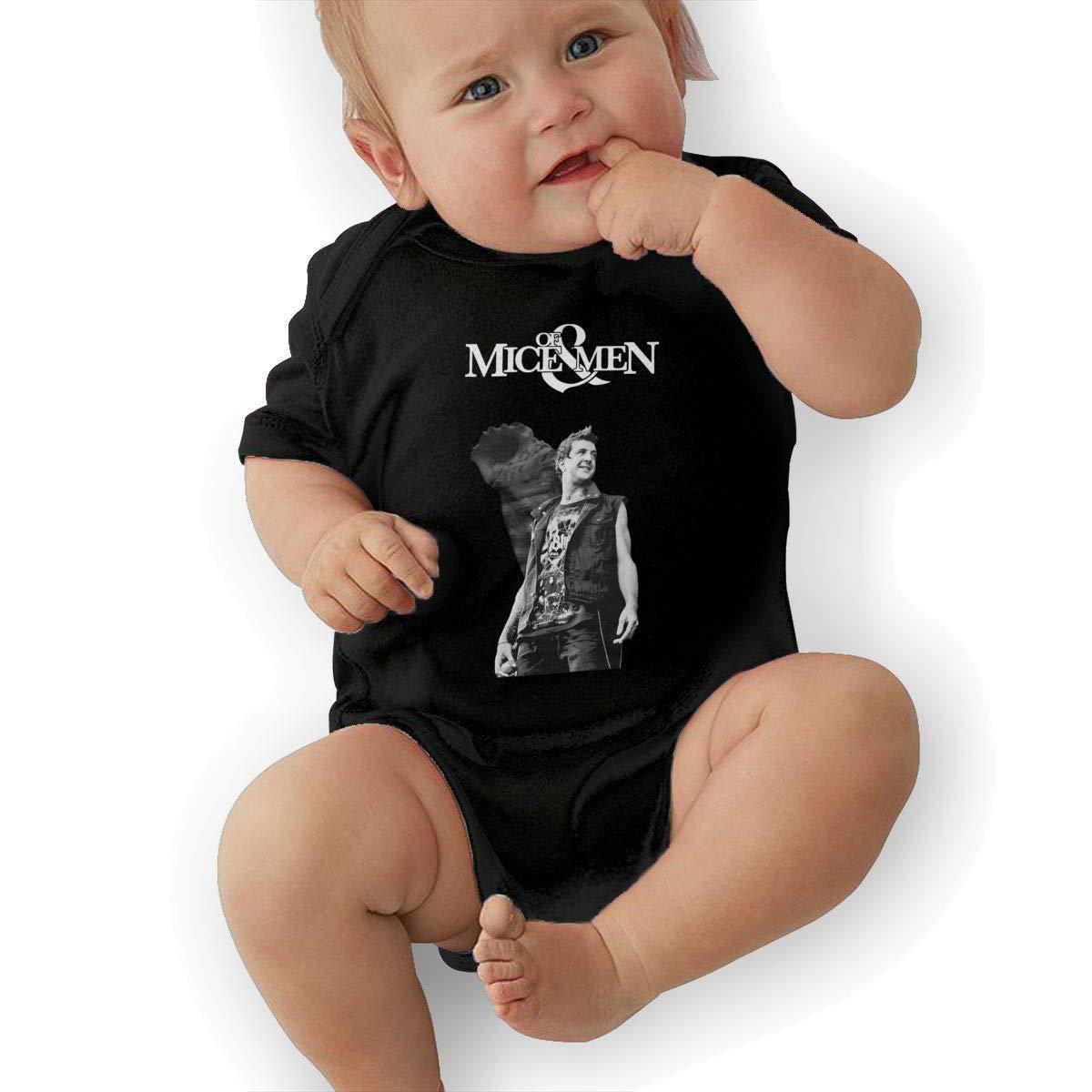 SHWPAKFA Infant of Mice /& Men Band Cute Soft Music Band Jersey Creeping Suit,Black,12M