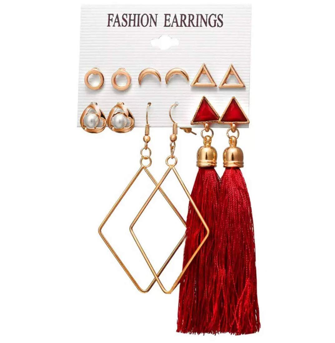 Shining Diva Fashion 14 Latest Design 6 and 9 Pairs Combo Stylish Earrings For Women and Girls product image