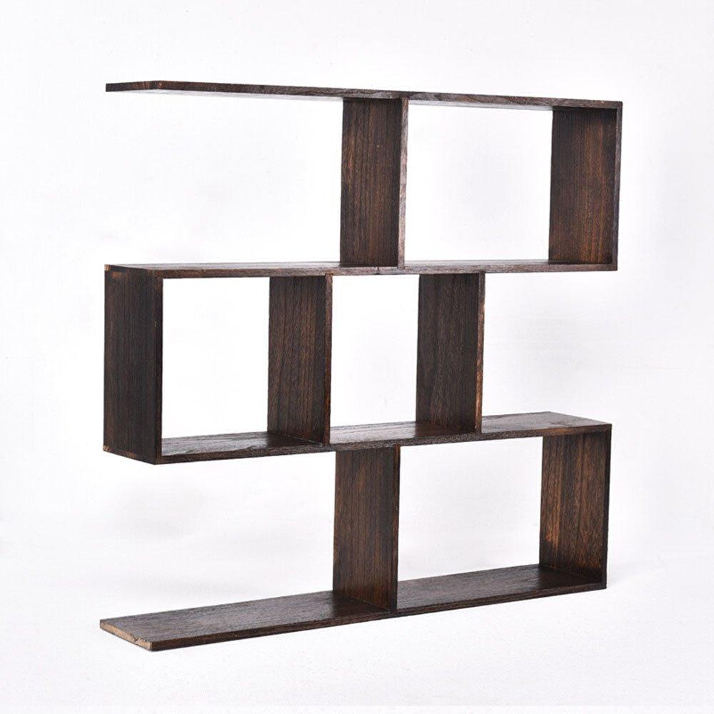 Bogee shelf / solid wood Chinese wall-mounted tea table shelf / shelf / living room antique shelf / wine rack / wall shelf / bookcase bookcase / black shelf/(801575cm) by Wall Shelves