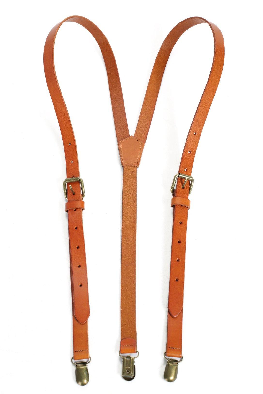 ROCKCOW Genuine Leather Suspenders/Groomsman Wedding Suspenders