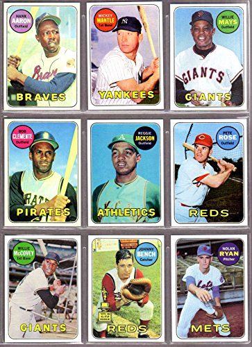 1969 Topps Baseball Reprint (10) Card Lot featuring Mays, Mantle, Hank Aaron, Roberto Clemente, Reggie Jackson Rookie, Pete Rose, Willie McCovey, Johnny Bench, Nolan Ryan, Rollie Fingers Rookie - Ten Baseball Topps 2002