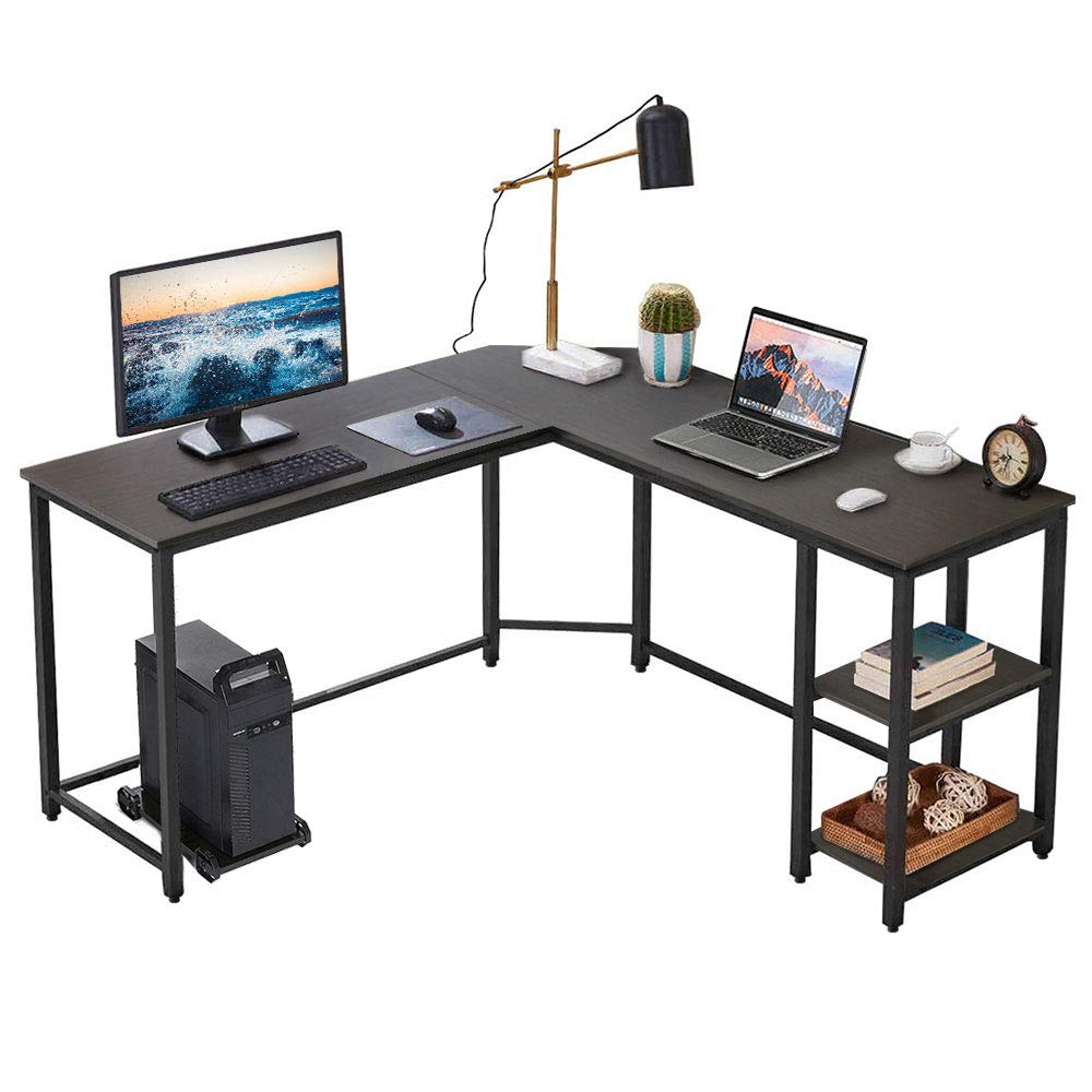 Vanspace L Shaped Desk with Shelves 59 Inch Corner Computer Desk with CPU Stand, Home Office Desk Gaming Table Workstation Study Writing Desk – DK01 Black