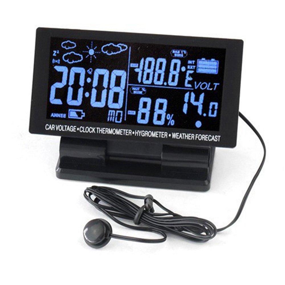 PolarLander 4 en 1 Thermomè tre numé rique de Voiture é cran LCD hygromè tre 12V DC Thermohygrographe Mé té o Voltage Clock