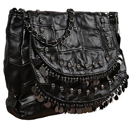 Black Lambskin Shoulder Bag - YALUXE Women's Skull Studded Bling Tassel Lambskin Leather Purse Cross Body Shoulder Bag Black 1