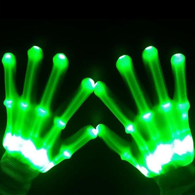Guantes luminosos led de color verde para disfraz