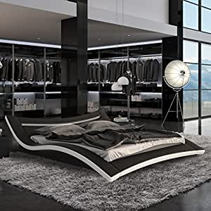 Seducce Modern Black Queen Bed with LED Lighting