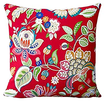 Amazon Com Artisan Pillows Outdoor Floral In Red Modern Decorative