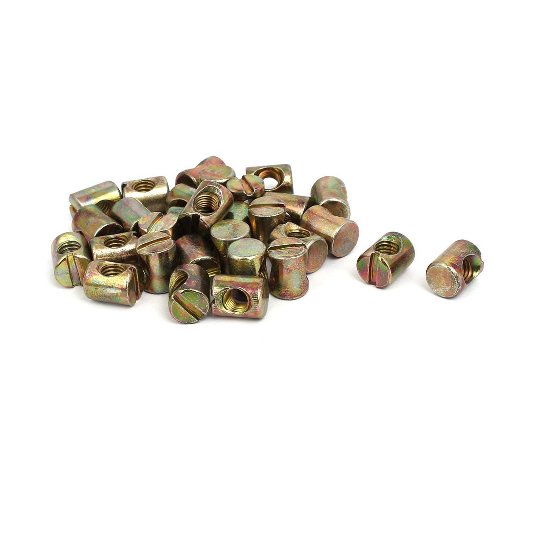 uxcell 30pcs M6x12mm Barrel Bolt Cross Dowel Slotted Furniture Nut for Beds Chairs