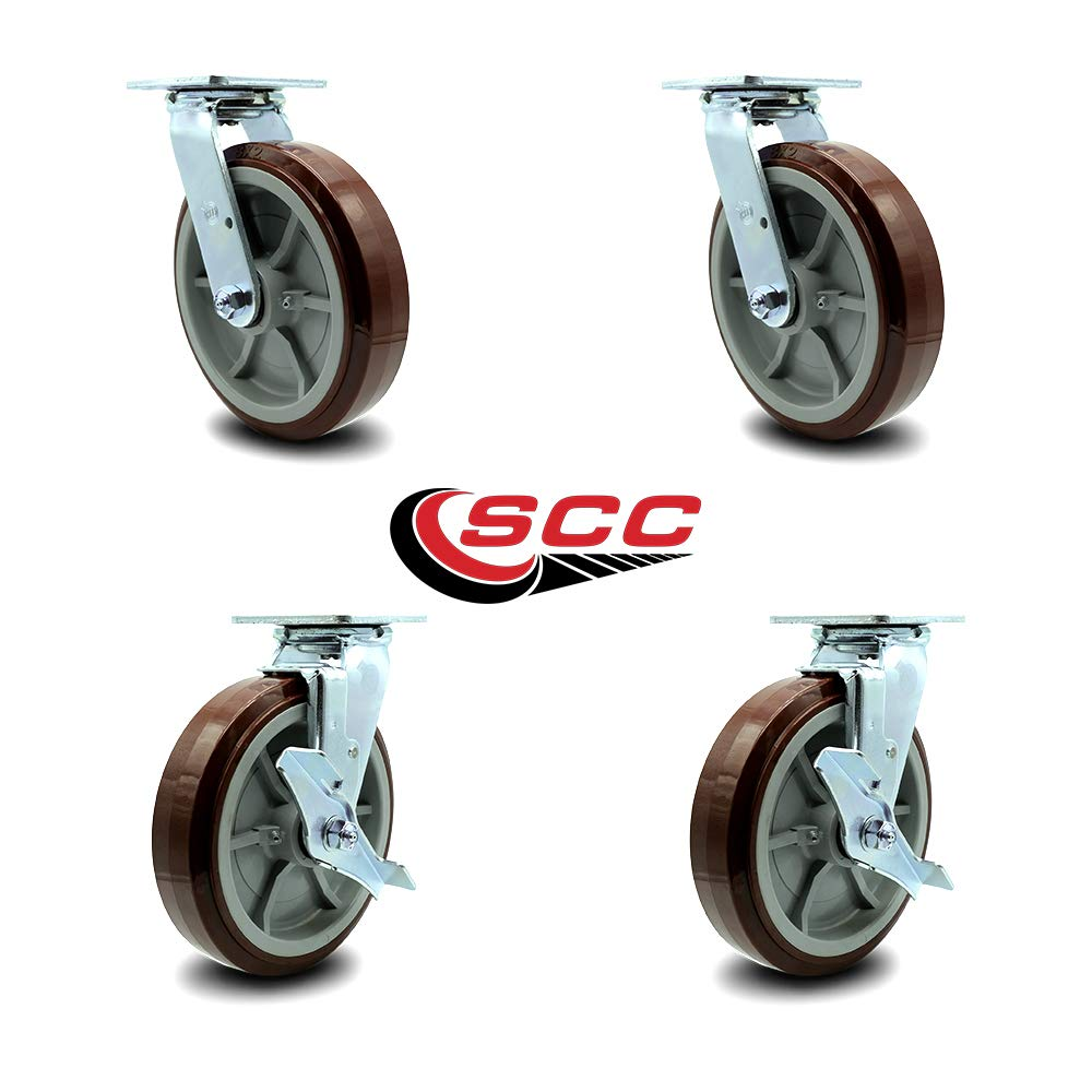 Service Caster - 8'' Heavy Duty Polyurethane Wheel Caster Set of 4 - with 2 Swivel/2 Swivel w/Top Locking Brakes - Non Marking - 800lbs/caster