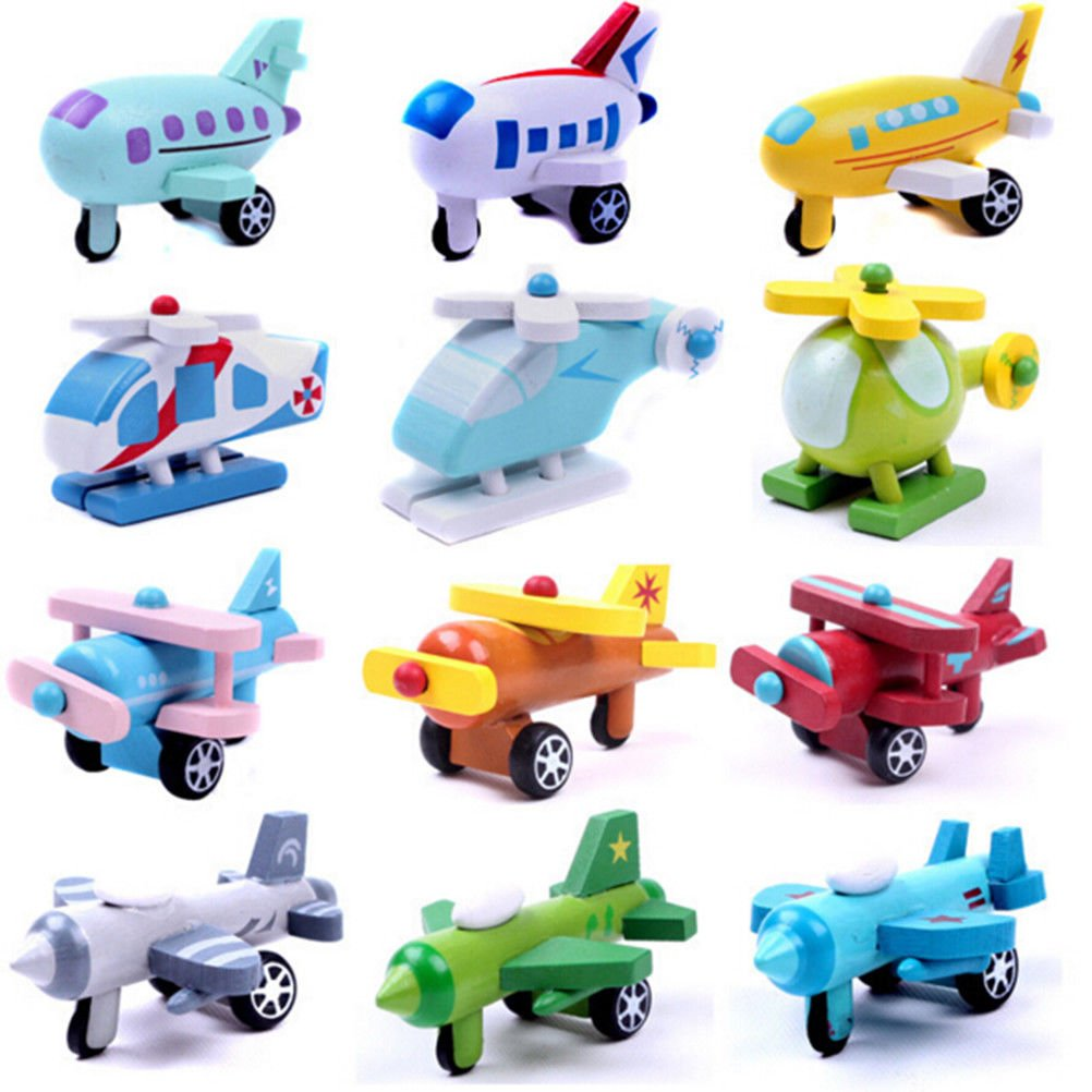 YIKESHU, Mini Wooden Aircraft Airplane Educational HandMade Toys Baby Kids Children Gift(12pcs/set)