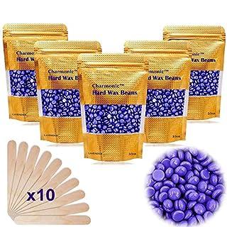17.5 Oz Hair Wax Beans by Charmonic, Hard Body Wax Beans, Hair Removal Depilatory Wax European Beads for Women Men 500g/1.1 lb (lavender)