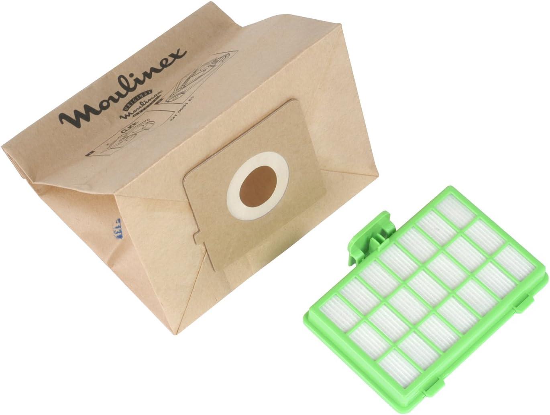Moulinex MT000101 Juego de 10 bolsas de papel y 1 filtro Hepa H10 para aspiradora Zélio: Amazon.es: Hogar