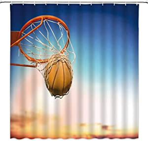 dachengxing Basketball Outdoor Sport Shower Curtain Early Morning Nature Decor Basketball into The Hoop Dramatic Misty Sky Scenery,Fabric Bathroom Set Hooks Included 70x70 Inch,Orange Blue