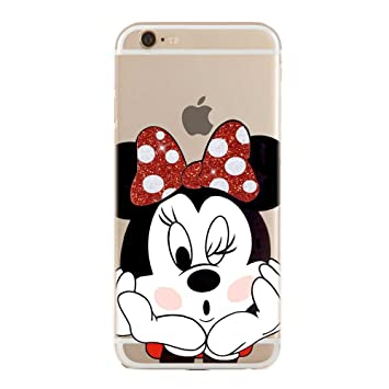 IP6 6S TPU Funda Gel Transparente Carcasa Case Bumper de Impactos y Anti-Arañazos Espalda Cover, Glitter Special Colección Collection, Disney Minnie ...