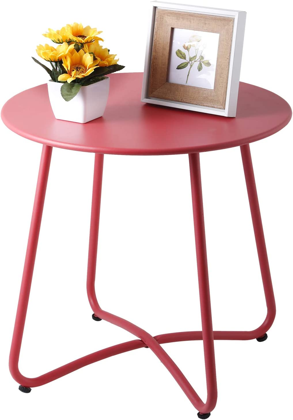 Small Round Metal Side Table, Anti-Rust Outdoor Patio Side Table Coffee Table for Porch, Yard, Balcony, Garden (Red)