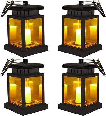 LED Farolillo Solar Exterior con abrazadera Farolillo Vela LED Solar Impermeable Recargable Baile Parpadeo Lámpara de llama LED Luz Colgante Solar del Jardín camping Portátil farolillo,4Pack: Amazon.es: Iluminación
